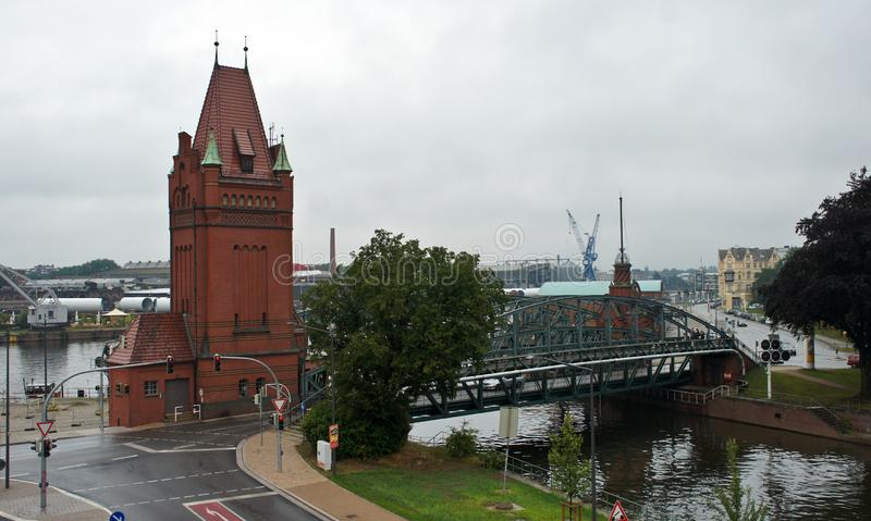 Top view of historic lift bridge and river, Lubeck, Germany royalty free stock photography