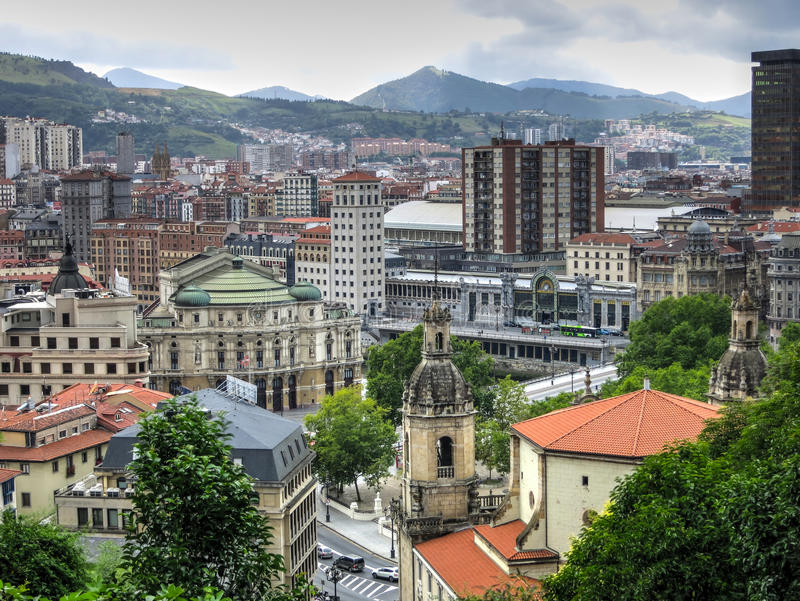 Top view of the historical part of Bilbao, Spain. stock image