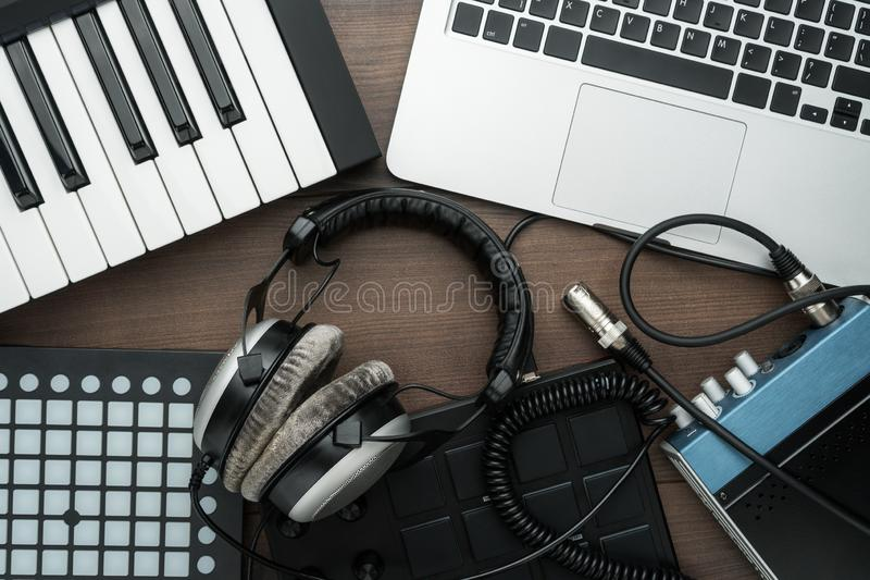 Top view of home studio music production equipment stock images