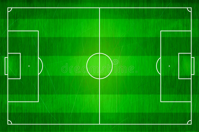 Top View Of Horizontal Line Soccer Field, Football Stadium