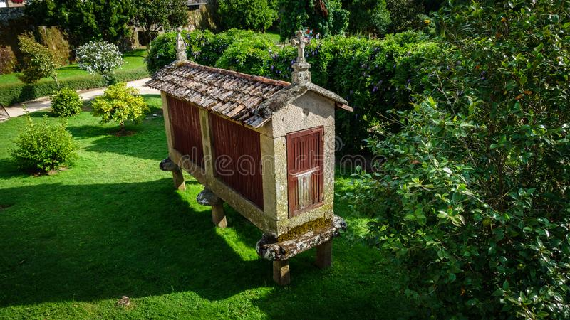 Top view of Horreo, a typical spanish granary royalty free stock photo