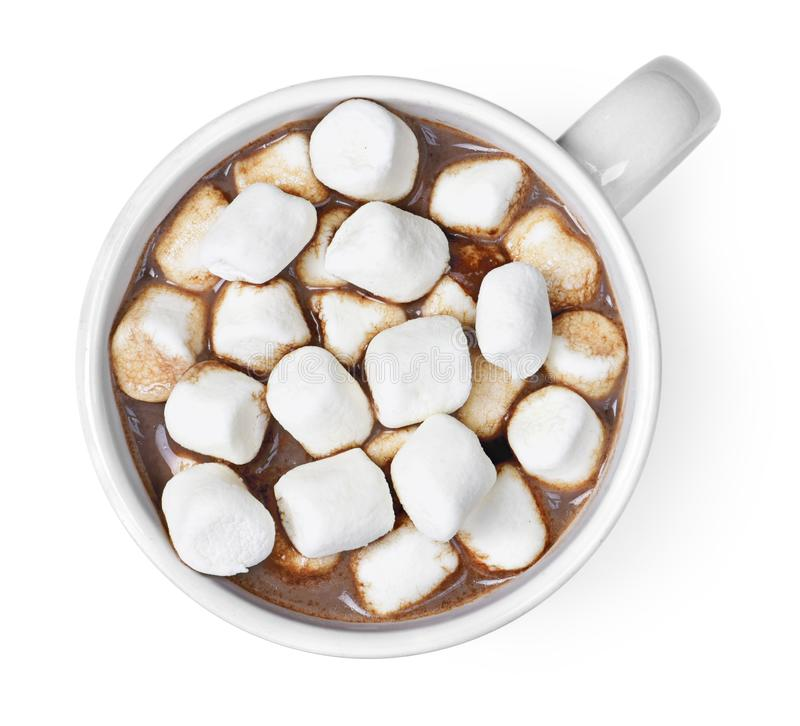 Top view of hot chocolate with marshmallows stock photos