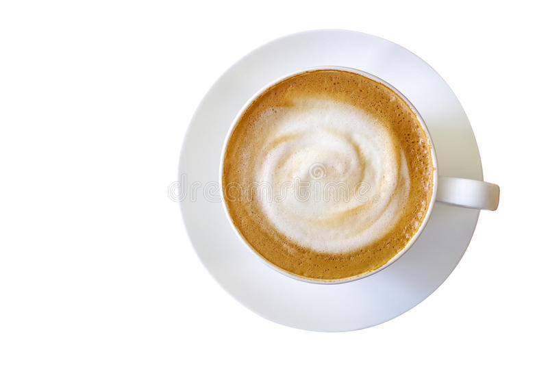 Top view of hot coffee cappuccino cup with milk foam isolated on royalty free stock image