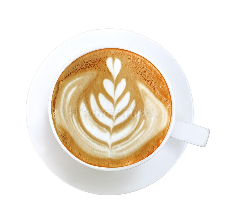 Top view hot coffee cappuccino latte art heart flower shape foam in cup isolated on white background, clipping path. Included stock photography