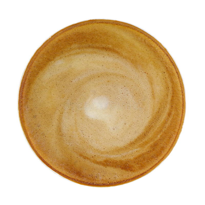 Top view of hot coffee cappucino cup isolated on white background, clipping path included. stock images