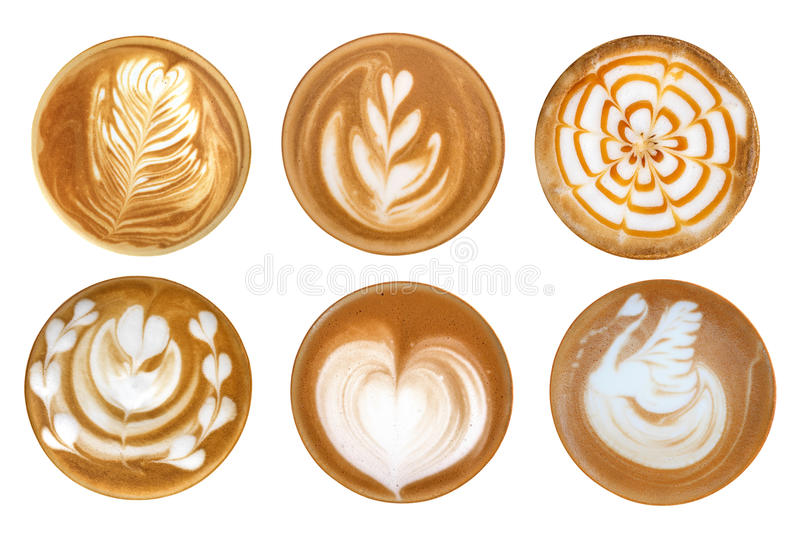 Top view of hot coffee latte art foam set isolated on white back royalty free stock images