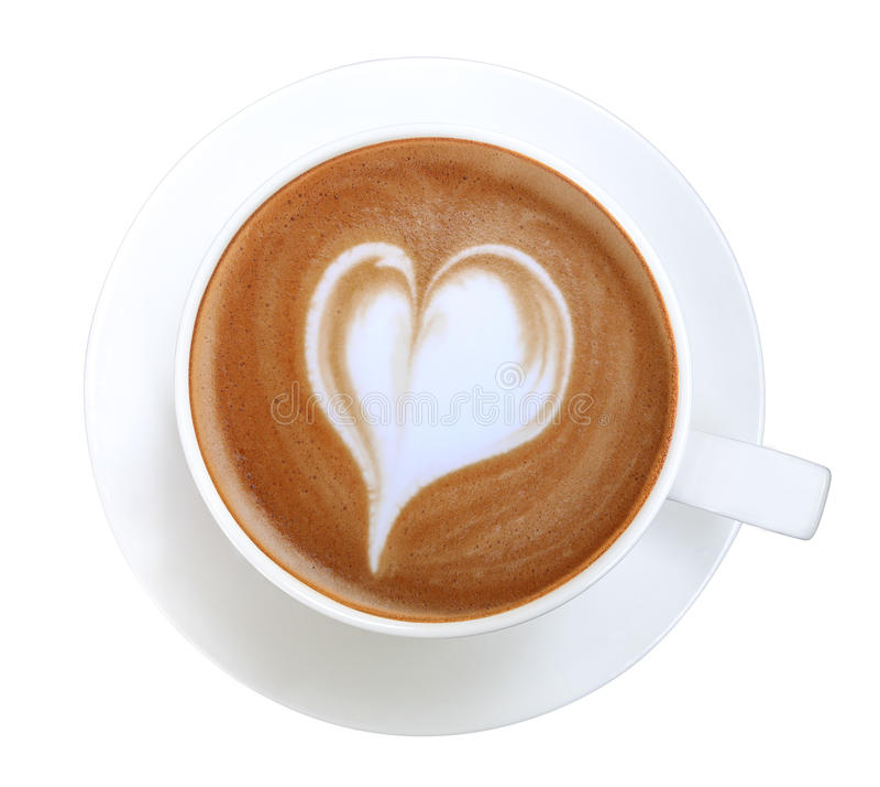 Top View Of Hot Coffee Latte Art Heart Shape Foam Isolated ...