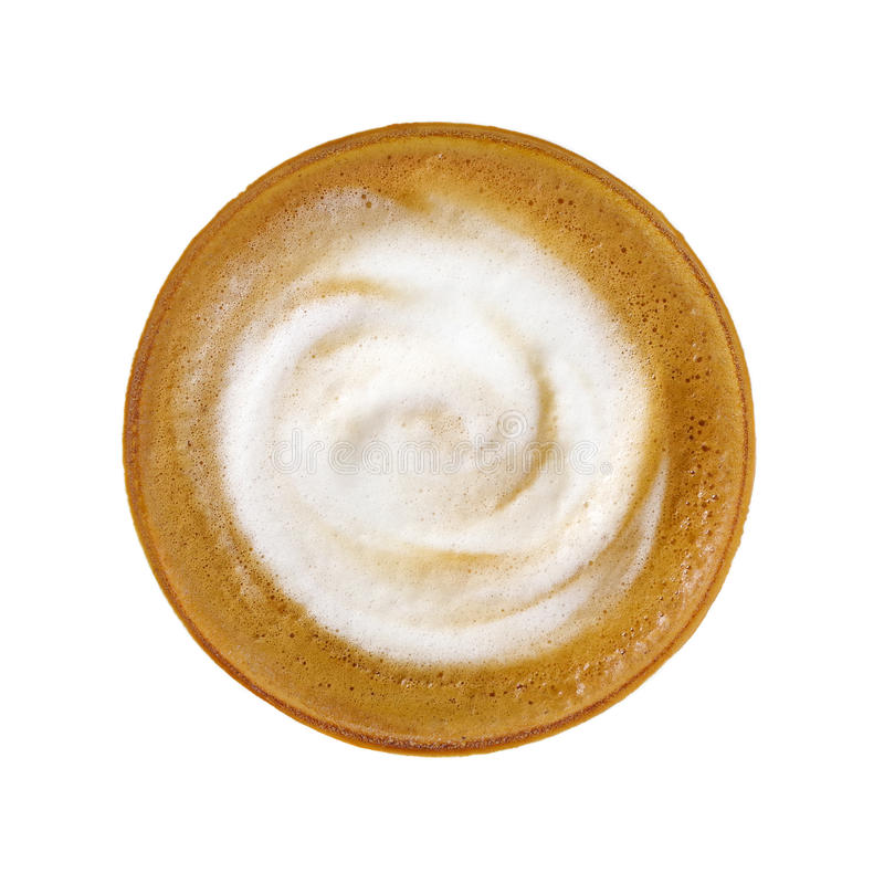 Top view of hot coffee latte cappuccino isolated on white background. stock photography