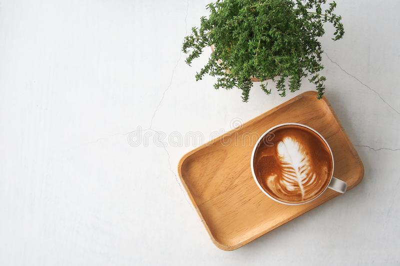 Top view of hot coffee latte cup with leaf shaped latte art milk foam on wooden tray and green small potted plant on white cracked stock photo