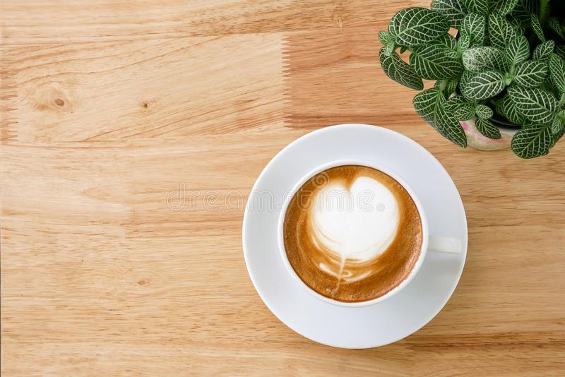 Top view of hot coffee latte with heart shaped milk foam on light wood table background with tabletop small pot of Fittonia nerve royalty free stock photo