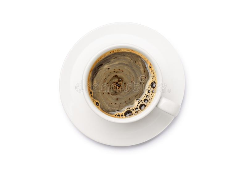 Top view of Hot coffee in white cup. Isolated on white background. Clipping path royalty free stock photography