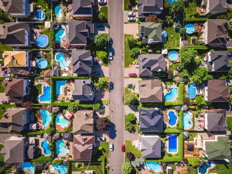 Top View of Houses in Residential Area of Montreal, Quebec, Canada. Top view of houses in typical residential neighbourhood in Montreal, Quebec, Canada stock image