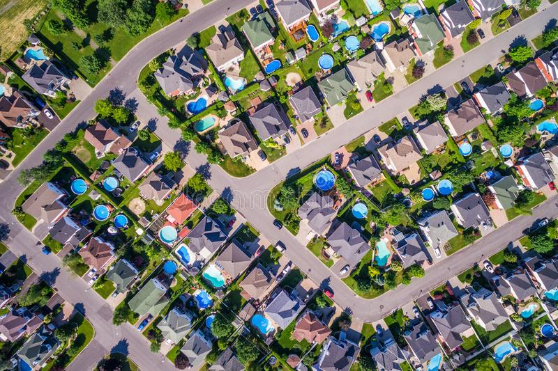Top View of Houses in Residential Neighborhood in Montreal, Quebec, Canada. Top view of houses in typical residential neighbourhood in Montreal, Quebec, Canada stock photo