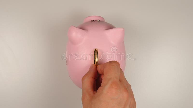 TOP VIEW: Human hand throws a coin into pink pig money box stock photography