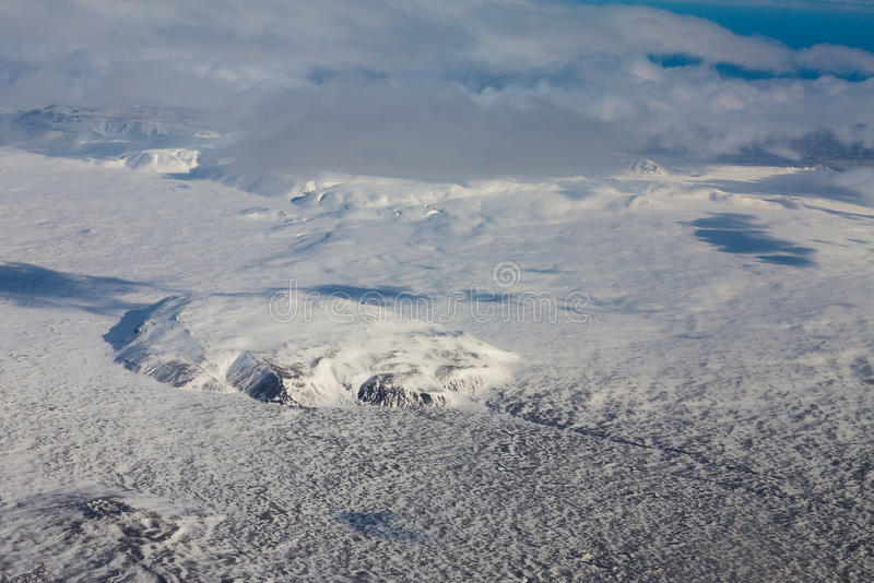 Top view Iceland winter season landscape. Aerial view royalty free stock photos