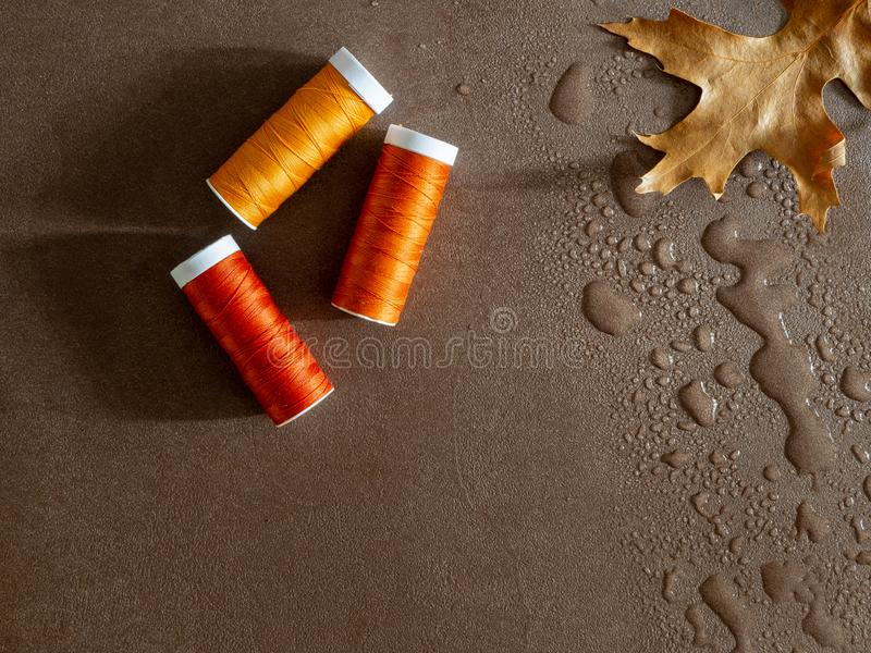 Sewing image with spools of thread and a fall leaf in water. Top view image for autumn sewing. Orange colored sewing threads on a brown background with a fall royalty free stock image