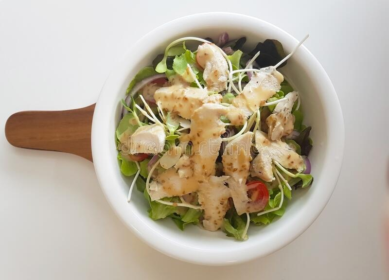 Top view image of chicken breast salad with green vegetables stock images