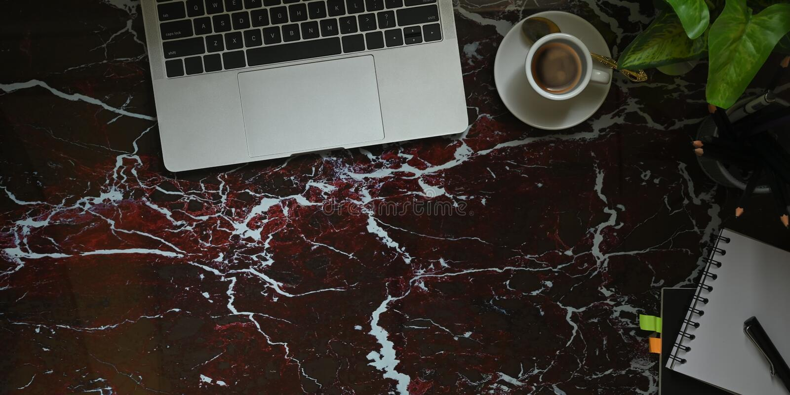 Top view image of computer laptop putting on marble texture table with coffee cup, potted plant, notebook and pen. stock images
