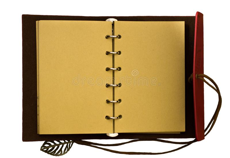 Top view image of open notebook with blank pages isolated on a white background, ready for adding text stock photos