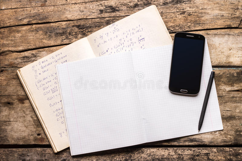 Top view image of school notes background royalty free stock photography