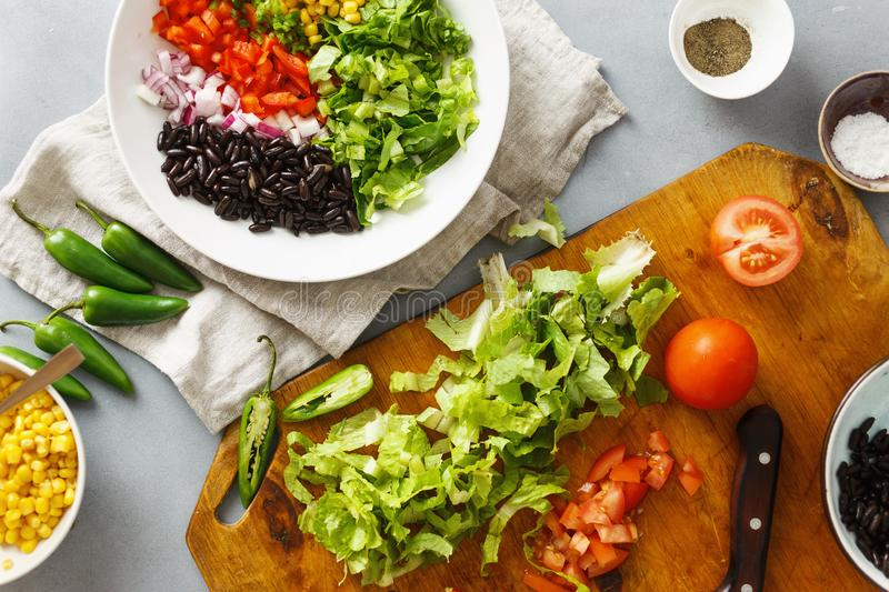 Top view ingredients cooking taco salad gray concrete background royalty free stock photos