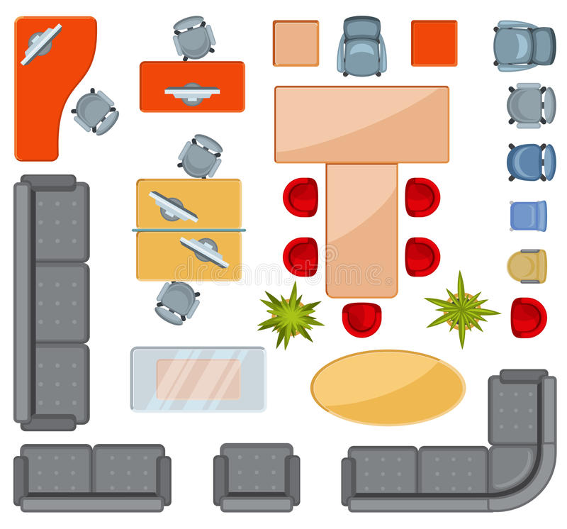 Top View Interior Furniture Icons Flat Vector Icons Stock Vector Illustration Of Colored Collection 89791373