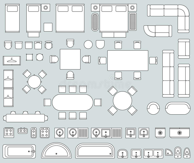 Top view interior with line furniture icons vector set stock illustration
