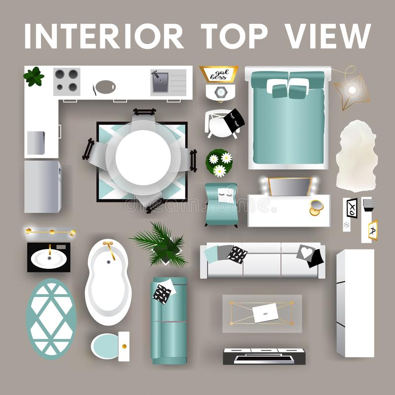 Set Of Interior Top View Icons. Isolated Home Furniture
