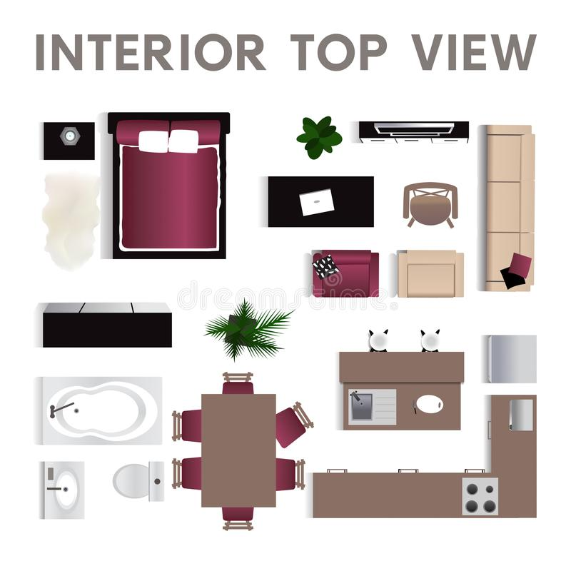 Interior Top View. Set Of Isolated Realistic Interior Icon