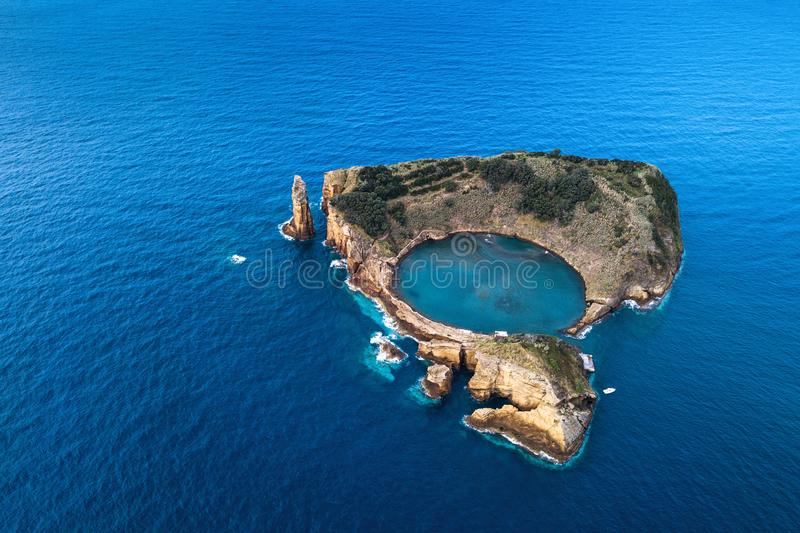 Top view of the Islet of Vila Franca do Campo, Azores royalty free stock photography