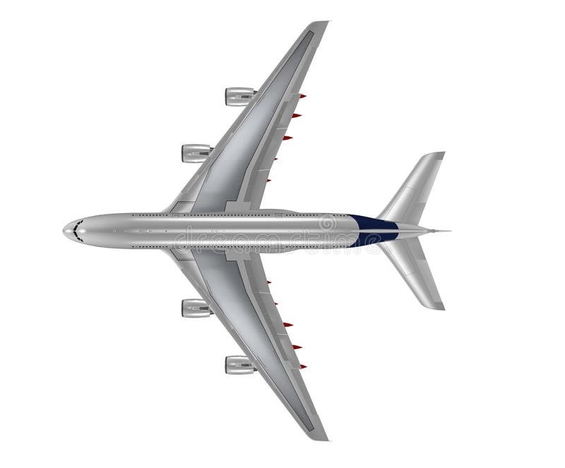 Top view of a isolated airplane stock photo