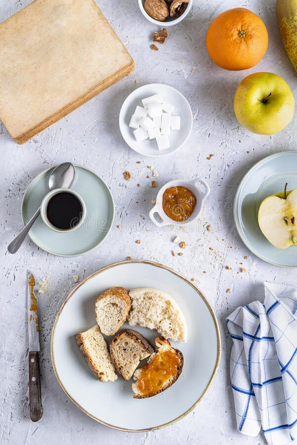 Top view of italian breakfast on delicate background royalty free stock images