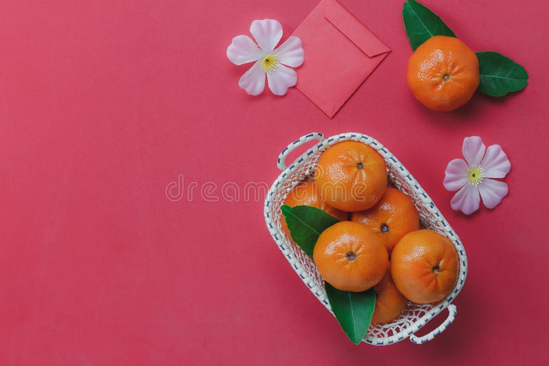 Top view of items for Chinese & Lunar Happy New Year background. stock photo