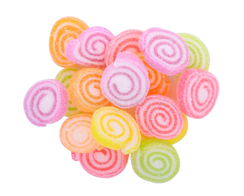 Top view of Jelly sweet, flavor fruit, candy dessert colorful on stock photos