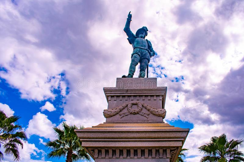 Top view of Juan Ponce de Leon statue in Florida`s Historic Coast . royalty free stock photo