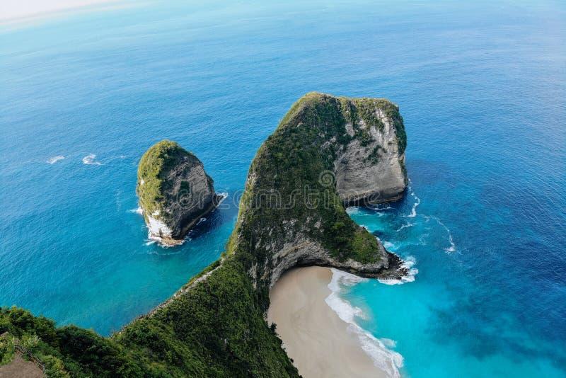 Top view of Karang Dawa bay, Kelingking beach. Nusa Penida Island, Indonesia. royalty free stock photography