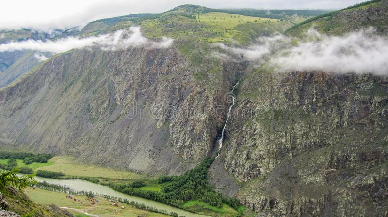 Top view of the Katu-Yaryk gorge in the Altai mountains royalty free stock photography
