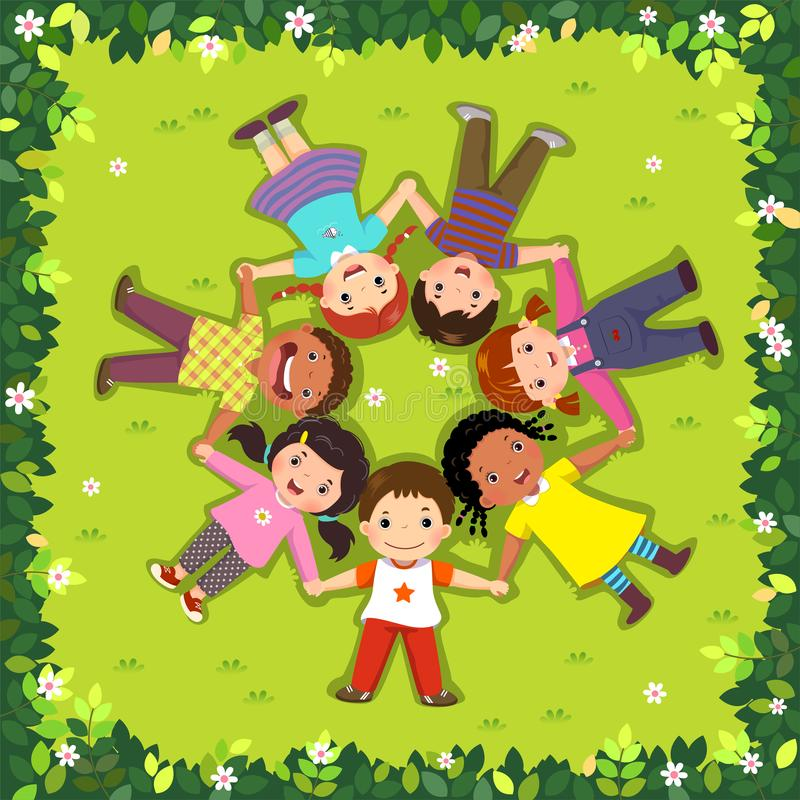 Top view of kids lying on the grass in a circle vector illustration