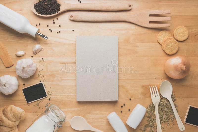 Top view kitchen mockup rural kitchen utensils on wooden for Table utensils