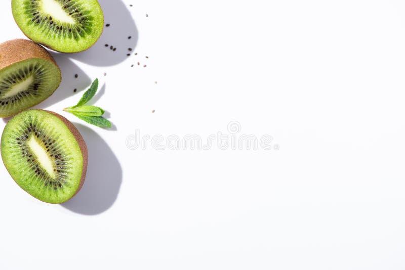 Top view of kiwi fruit halves stock photos