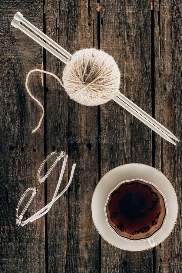 Knitting needles, yarn royalty free stock image