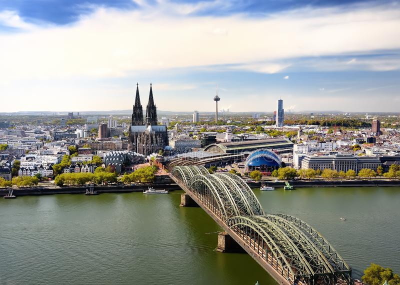 Top view of Koel. View on Cologne Cathedral and Hohenzollern Bridge in Koel, Germany royalty free stock photography