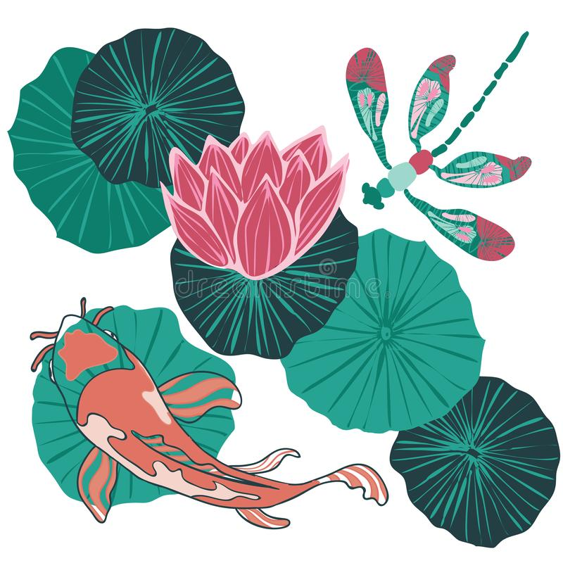 Top view of a Koi fish or Asian carp swimming in a waterlily pond with a dragonfly flying overhead. Vector. Illustration stock illustration
