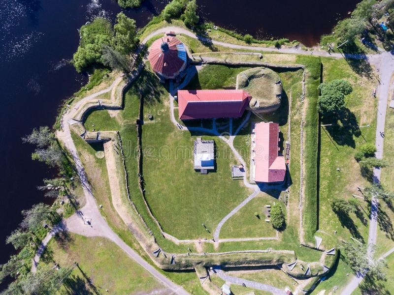 Top view at the Korela fortress with walls, buildings and inner yard. Korela the ancient Karelian fortification was build in stock photos