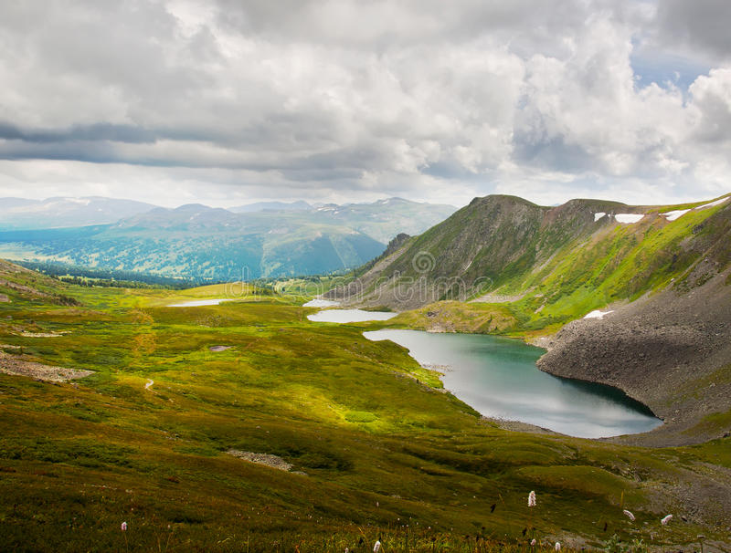 Top view of lakes in Altai mountains stock photo