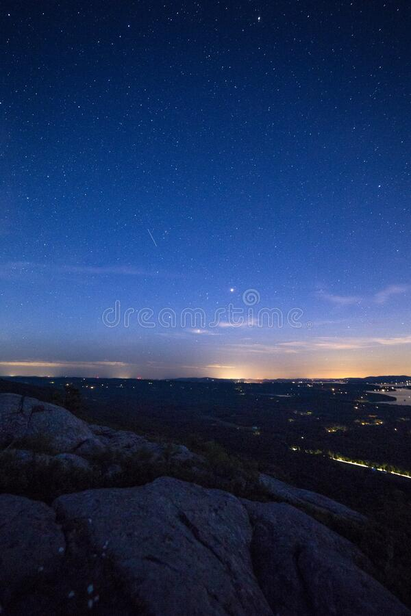 Top View of Land Under Star during Night Time royalty free stock photography