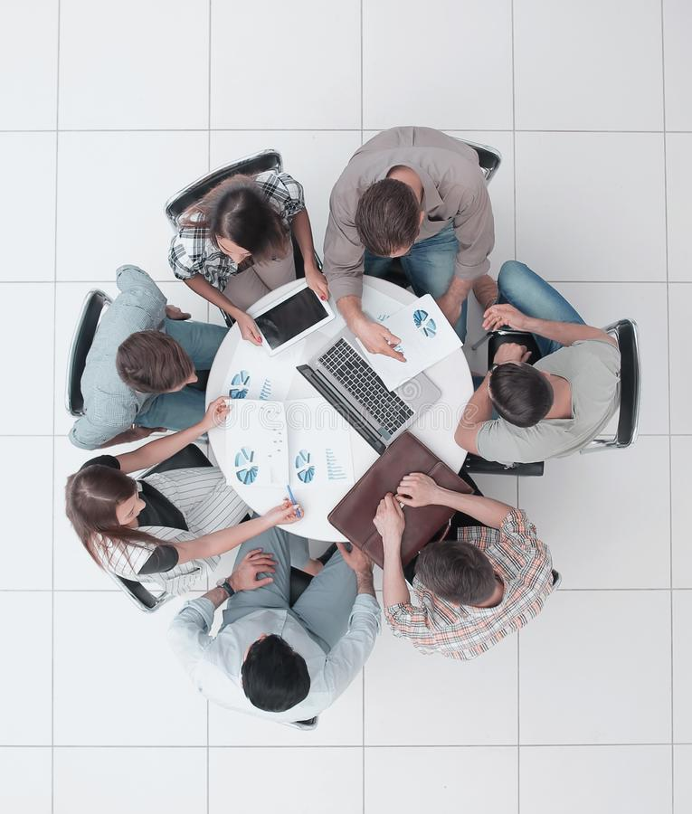 Top view.lawyer and business team sitting at the round table stock image