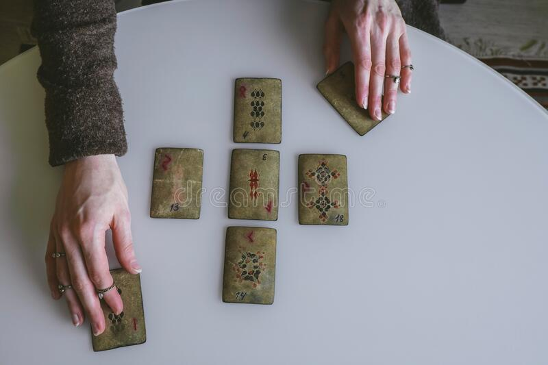 Layout of vintage cards with runes. Top view layout of vintage cards with runes royalty free stock photography