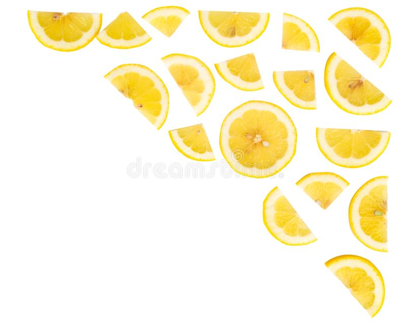 Top view lemon fruit isolated on white background stock images
