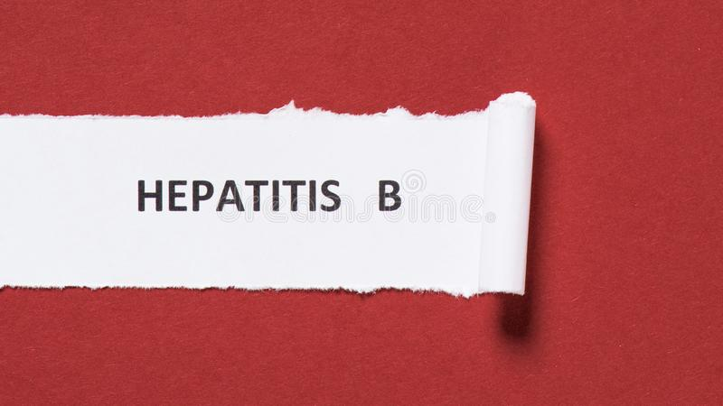 top view of lettering hepatitis b on paper on red background world hepatitis royalty free stock photography